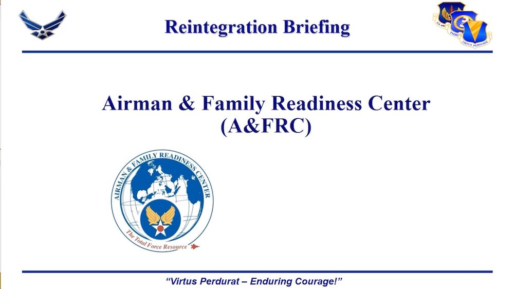 A&FRC Reintegration Briefing Video